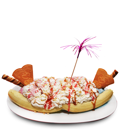lickety split our house signature dish a large special banana split ...